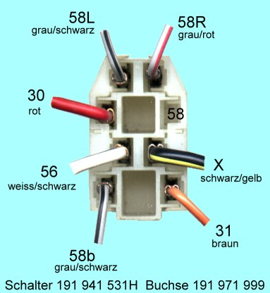 Belegung / Verdrahtung des VW Käfer 1600i Lichtschalter